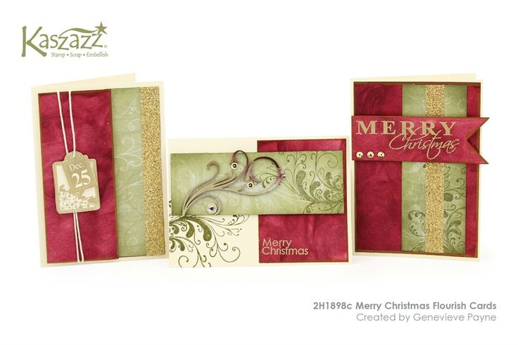 2H1898c Merry Christmas Flourish Cards
