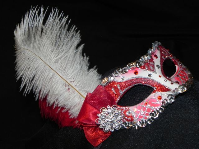 Masquerade Masks for Prom | Petite Masquerade Mask in Red and Silver by TheCraftyChemist07