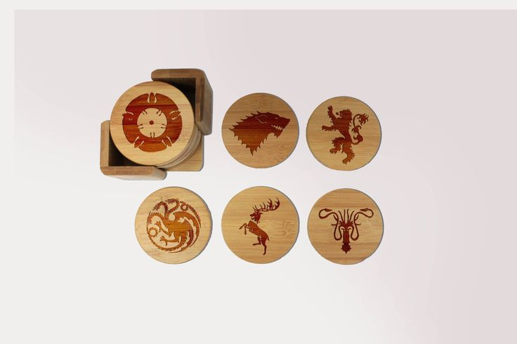 Game of Thrones Coasters, Custom Wood Coaster Set, Round Wood Coaster Set…