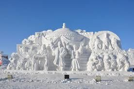 Snow sculptures at Jingyuetan National Forest Park in Changchun, China