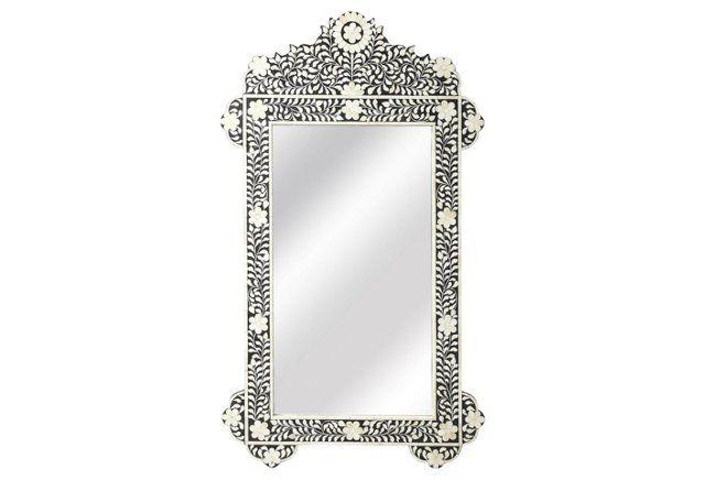 Bone Inlay Oversized Wall Mirror, Black