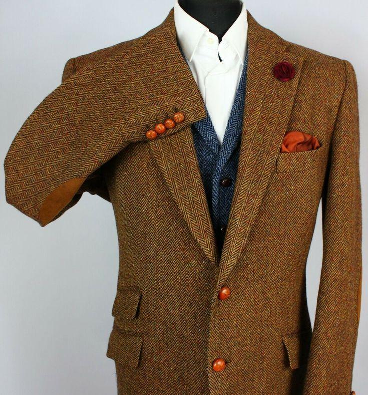 Donegal tweed blazer jacket brown magee working cuffs 44l