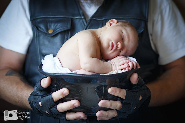 Newborn photography motorcycle  Harley davidson