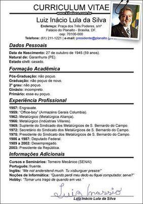 Modelos de curriculum pronto do Luiz Inácio Lula da Silva