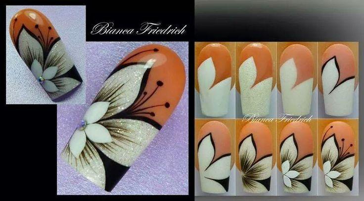 Super blog !! Step by step nail art how to tutorial Orchid Nail: Pas à Pas par Bianca F.