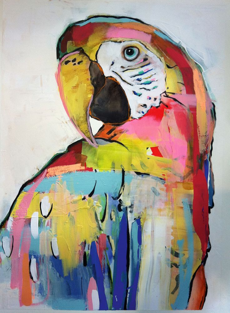 The gorgeous original 'Colourful Parrot' artwork by Alissa Wright, perfectly matched with a whitewashed timber frame, is pure tropicana style. $1600 from St Barts.