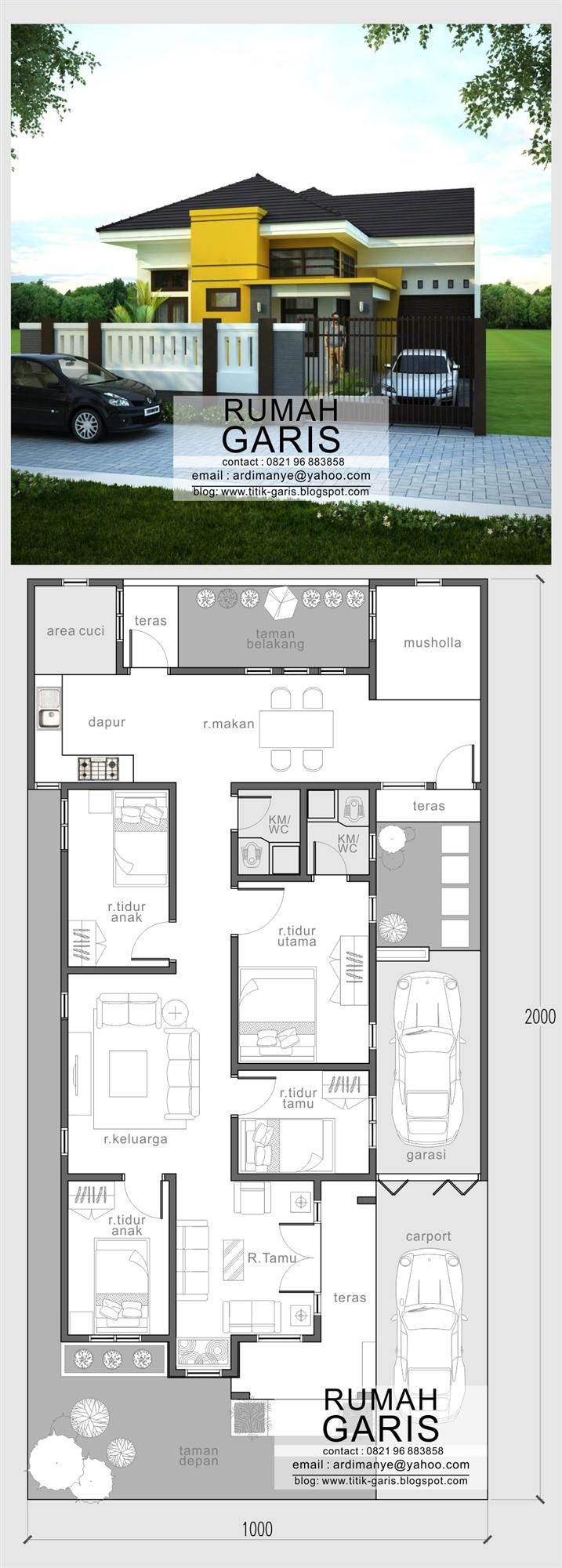 jasa desain rumah tinggal 1 lantai milik Ibu Saskiah di Kab. Bone, SulSel #jasadesain #konsultan #arsitek #rumah #idaman #makassar