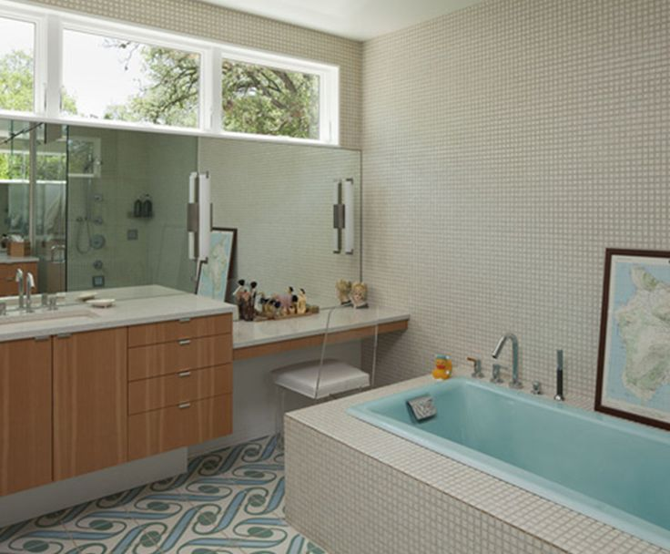 Mid century bathroom tile mid century modern ranch home for Ranch bathroom design
