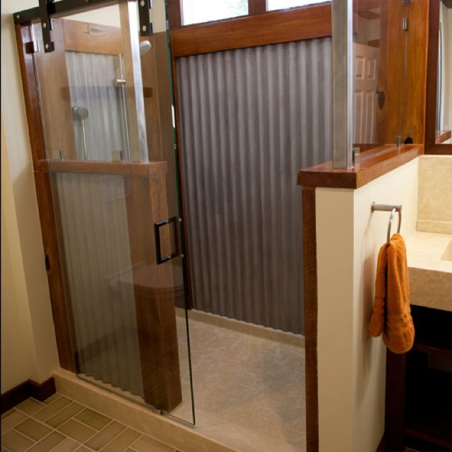Corrugated Metal Shower With Wood Trim Metal Accents