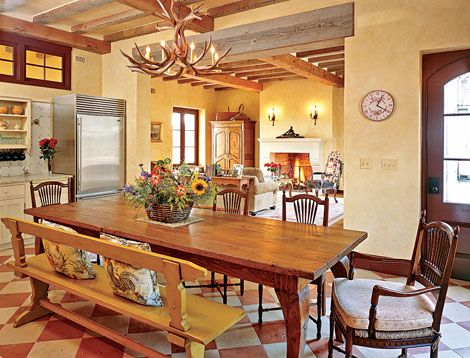 French Country table, love the mixed seating.: Dining Rooms, Country French, French Country Farmhouse, Country Decor, Traditional Home, Country Home Decor, Country Kitchens, Farms Tables, Rooms Color