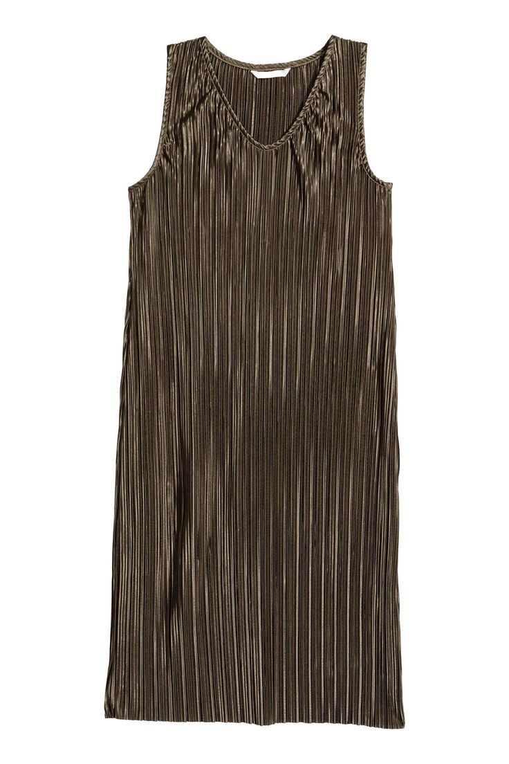 Plisowana sukienka - Ciemny khaki - ONA | H&M PL