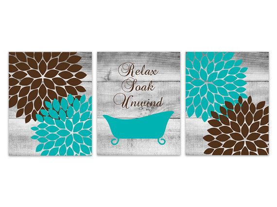 Brown and Teal Bathroom Decor Relax Soak Unwind by WallArtBoutique