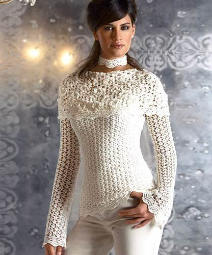 Bello Jersey Sobre Escote Patron - Patrones Crochet