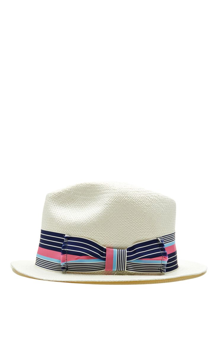 Adrian Frayed Bow Straw Hat in White by Sensi Studio - Moda Operandi