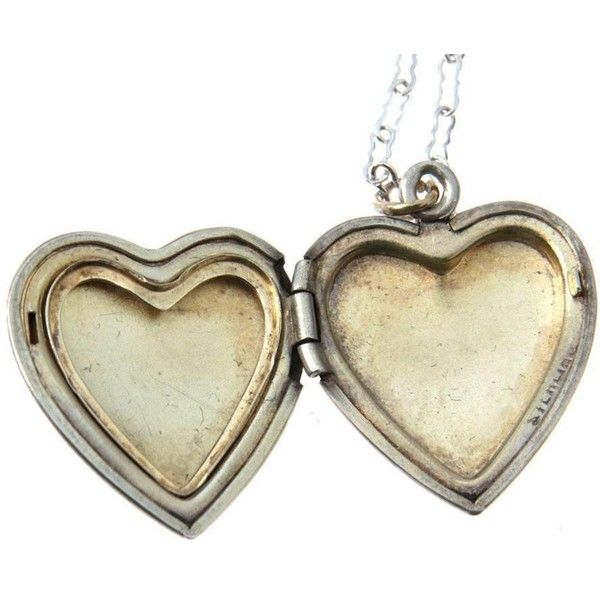Vintage Sterling Silver Heart Locket Necklace ($48) ❤ liked on Polyvore featuring jewelry, necklaces, sterling silver locket necklace, heart locket, initial necklace, letter necklace and heart locket necklace