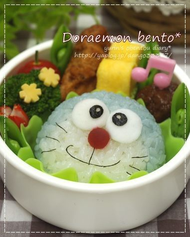 Doraemon bento<---- won't eat it and just stare at it