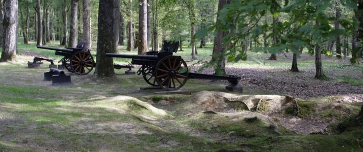 Cannons and trench remnants sit amongst the trees at Belleau Wood. Battle of Belleau Wood  fought during the Great War from June 1 - 26,1918.