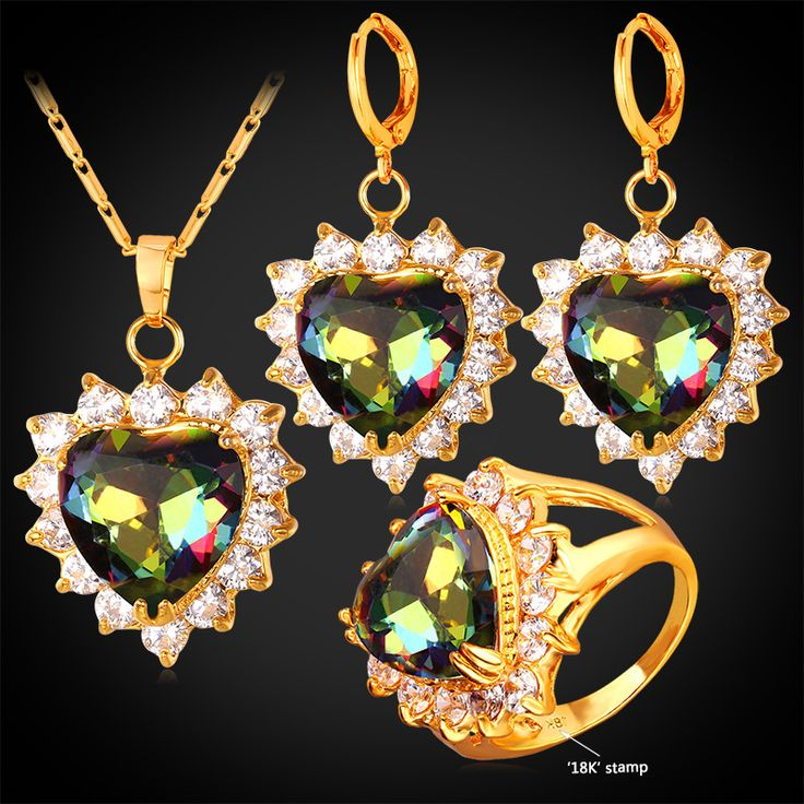 Women Mystic Topaz Zirconia Earrings Ring Necklace Gold Plated Bridal Wedding Jewelry Set Heart Valentines Day Gift PER1184