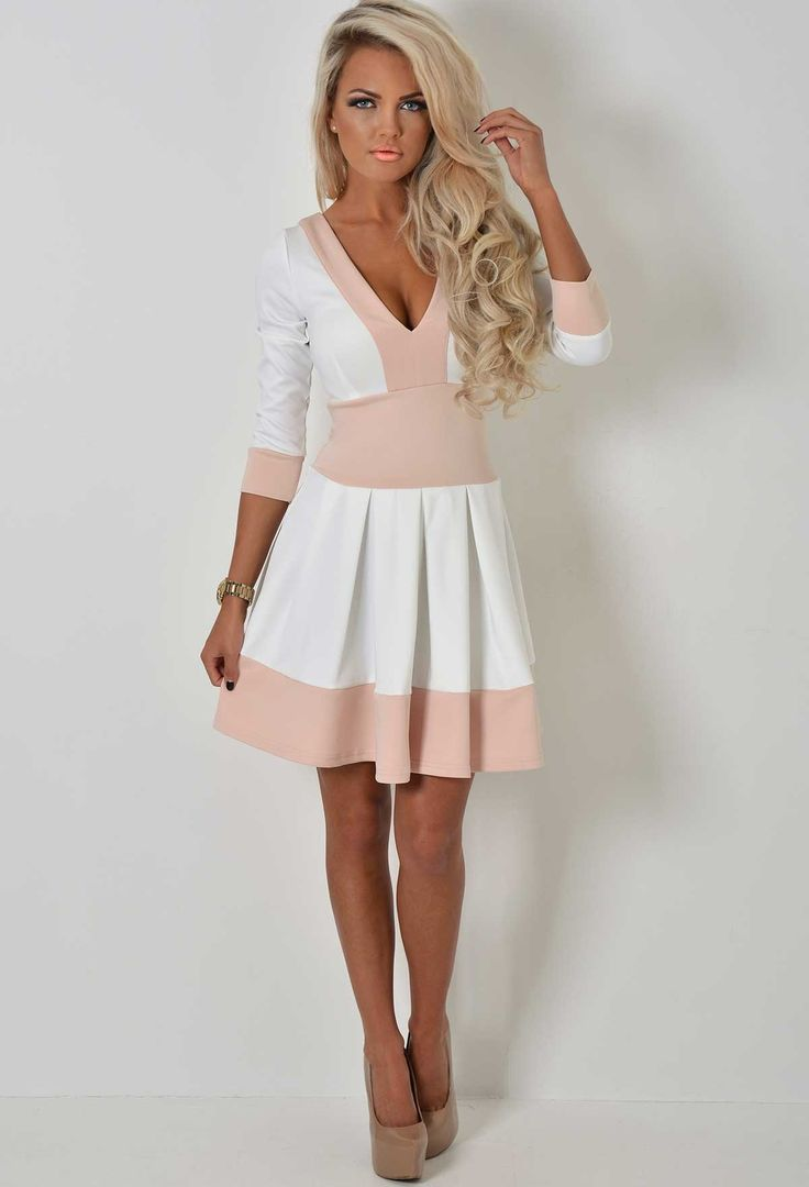 Cece Nude and Cream Plunge Skater Dress | Pink Boutique