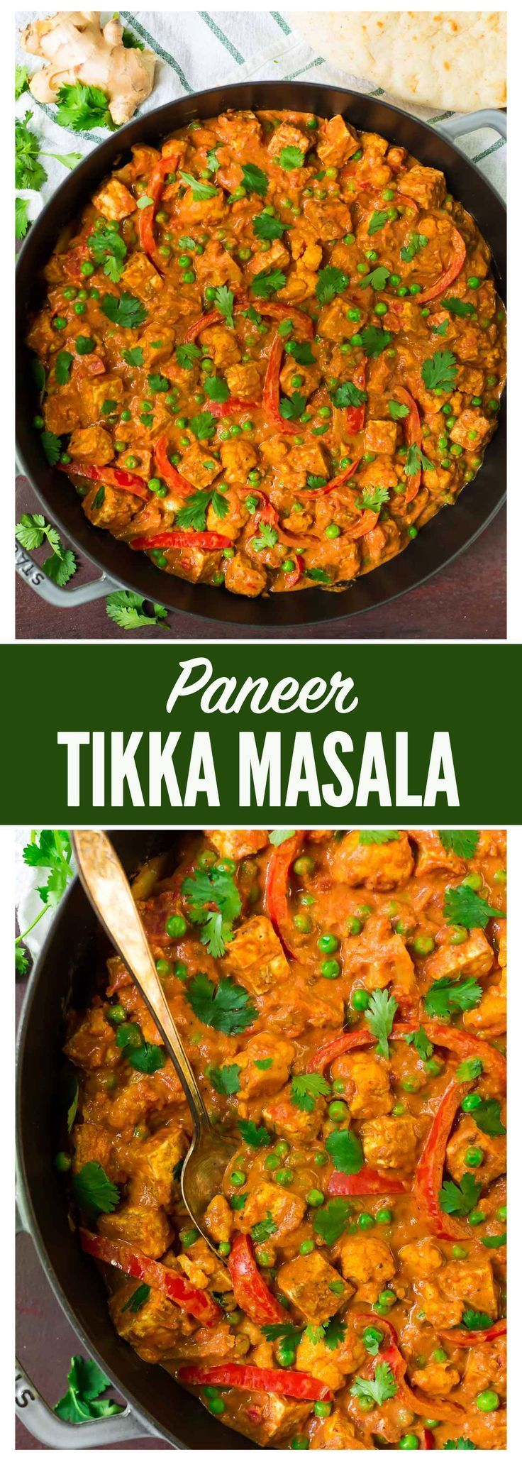An easy, healthy recipe for the popular Indian restaurant dish Paneer Tikka Masala (spiced Indian cottage cheese with masala gravy).  A rich, filling vegetarian dish that anyone can make at home! Recipe at wellplated.com | @wellplated