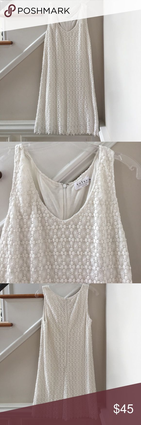 White Lace Dress. Velvet by Graham & Spencer Beautiful white lace dress from Velvet by Graham & Spencer. Zipper back w/hook. Size Medium. Can be worn casual or dress up.  Hits above the knee. Excellent Condition. Velvet by Graham & Spencer Dresses
