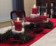 Christmas centerpiece with Epsom salts, inexpensive glass hurricane lamps and cheap candles!