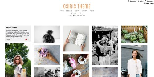 Osiris The Osiris theme is a clean and functional grid theme with lots of options to make it super customizable. It includes new Tumblr's new like/reblog buttons (even on text posts!), a clean permalink page, two header options, optional banner/header/background images, the option to show captions, and formatted audio posts. It's also been formatted to fit all three/four/five columns on any size screen. Enjoy! please like this post if you're using this theme PREVIEW   CODE