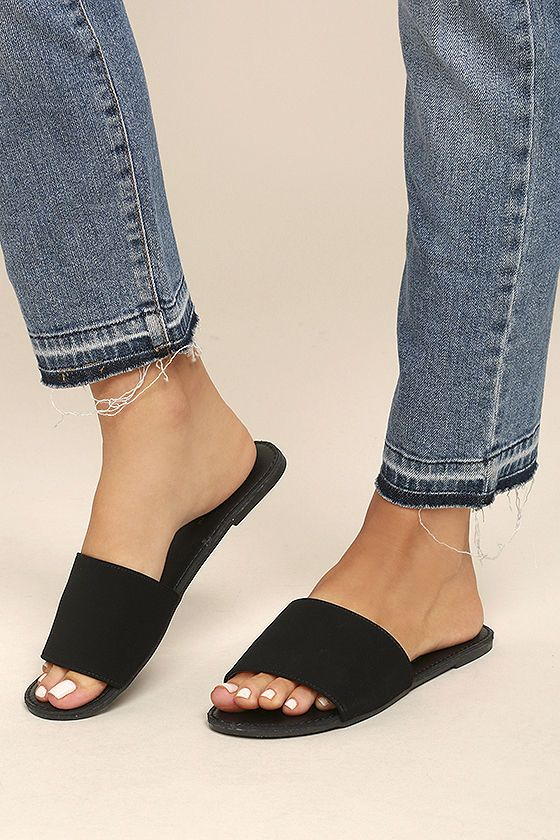 The best things in life are simple and chic, just like the Addison Black Nubuck Slide Sandals! Soft vegan nubuck shapes a wide toe band atop a peep-toe upper. Easy to wear slide-on-design.