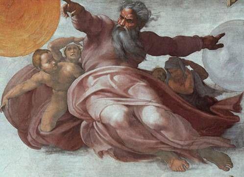 천지 창조  미켈란젤로   프레스코화, 137 x 122 cm, 1537-41,  바티칸 궁 시스티나 예배당 천장     가상의 큐레이팅이지만 실제로 전시회를 연다면 전시회의 천장으로 하고싶은 작품이다.  미켈란 젤로가 자신의 모든 역량을 쏟아부은 천정화의 가운데 부분으로 예술가의 집념과 양보할 수 없는 완벽함의 추구가 돋보이는 작품이다.
