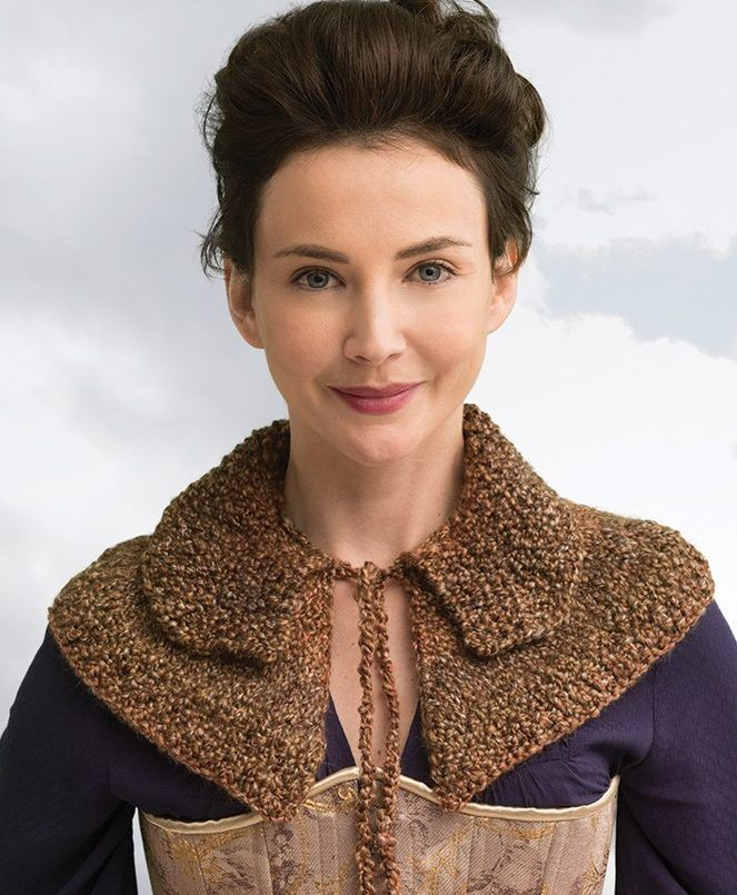 Knitting Pattern for Outlander Awakened Witch Trial Capelet - Easy capelet neckwarmer from the official Outlander kits from Lion Brand. The kit with yarn and pattern is only $11.49