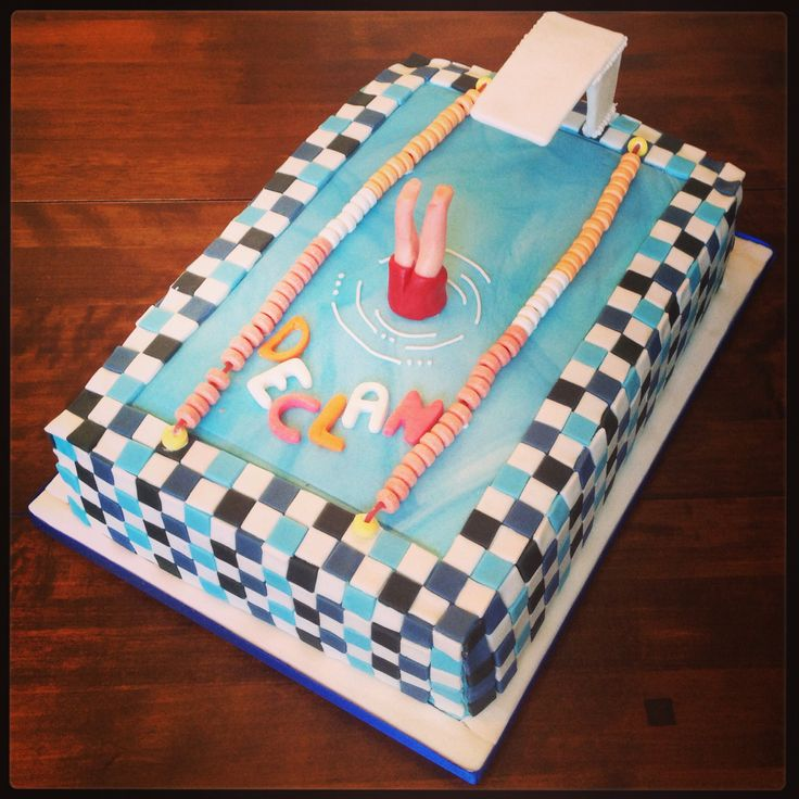 Diving Board Swimming Pool Cake