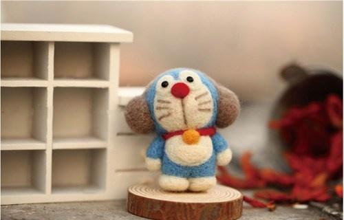 DIY Kit - Doraemon Needle Felting Kit - Universal cat Craft Kit
