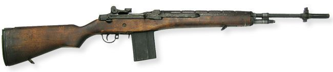 US rifle M14 7.62 mm magazine fed, gas operated, air cooled, semi-automatic or automatic with selector lever, shoulder fired individual weapon.