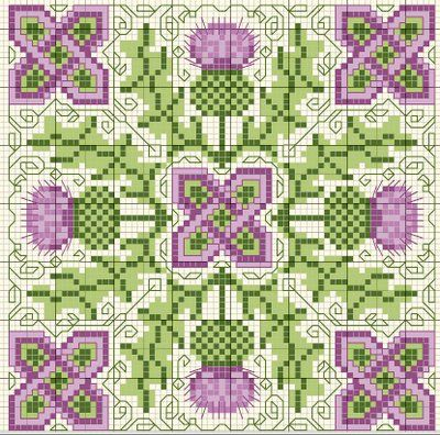 Scottish thistle biscornu cross stitch freebie -- how cool!