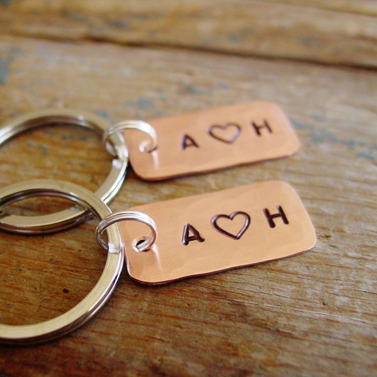Couples Keychain Set | Matching Set of 2 | Personalized Initals, Copper Anniversary Gifts, Copper Anniversary Gift, 7th Anniversary, Seventh Anniversary, Copper Gift Ideas, Husband 7th Anniversary, Wife 7th Anniversary, Simple Couples Gift, Simple Husband Anniversary Gift, Romantic Gift, Boyfriend Gift, Personalized Keychain Set, Hand Stamped by Pearlie Girl