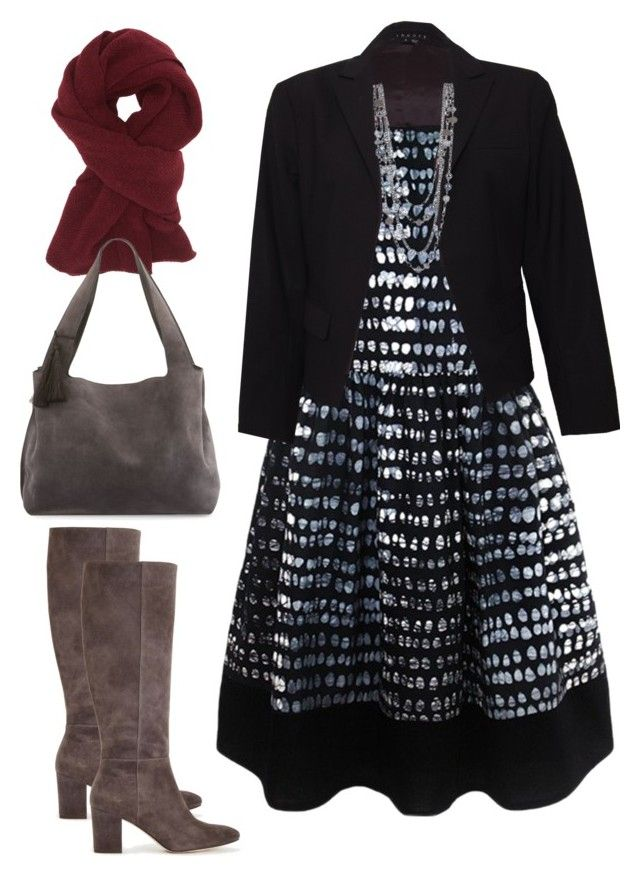 """""""Sapelle Batik Monochrome Dress - Smart"""" by sapellestyle ❤ liked on Polyvore featuring Ann Taylor, Theory, Charlotte Russe, The Row and Ethical"""