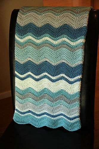 tamscrap's Gideon's Baby Blanket using Neat Ripple Pattern by Lucy of Attic24 (Ravelry), Free, 7 colors of Martha Stewart Extra Soft Wool Blend Yarn: Blue Corn, Winter Sky, Igloo, Bakery Box White, Gray Pearl, and Cobweb.