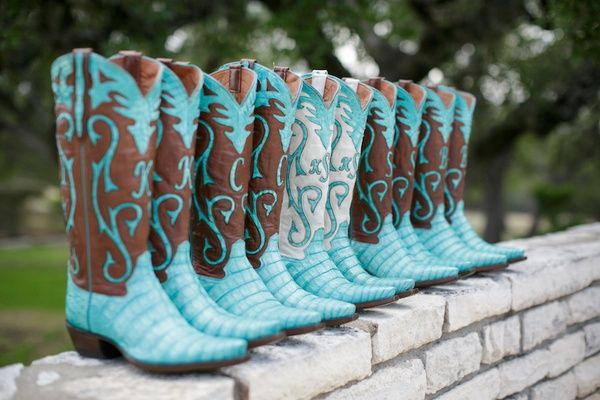 Turquoise Cowboy Boots    Photography: Stephen Karlisch   Read More:  http://www.insideweddings.com/weddings/outdoor-spring-wedding-celebration-on-a-ranch-in-texas/637/