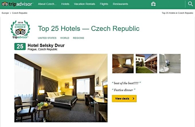 Hotel Selský Dvůr is among the top 25 most popular Czech hotels for the year 2018 according to TripAdvisor