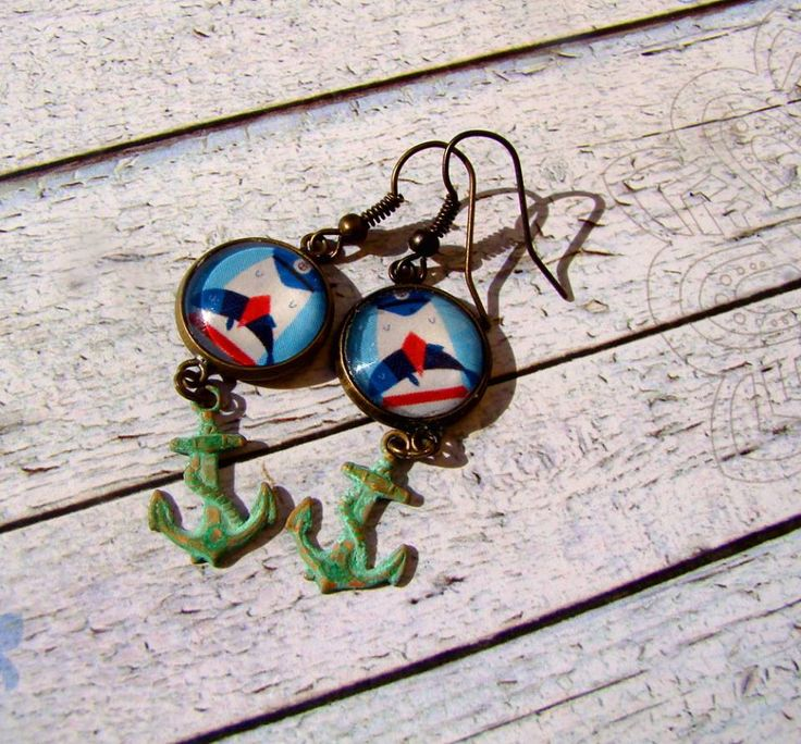 Vintage earrings navy style, sailor, verdigris patina anchor
