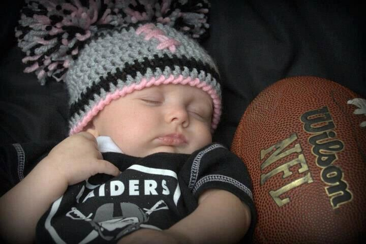 Crocheted baby girl football Cheerleader  beanie  Oakland Raiders, or Any Team Any Color Combination Cute photo prop. $20.00, via Etsy.