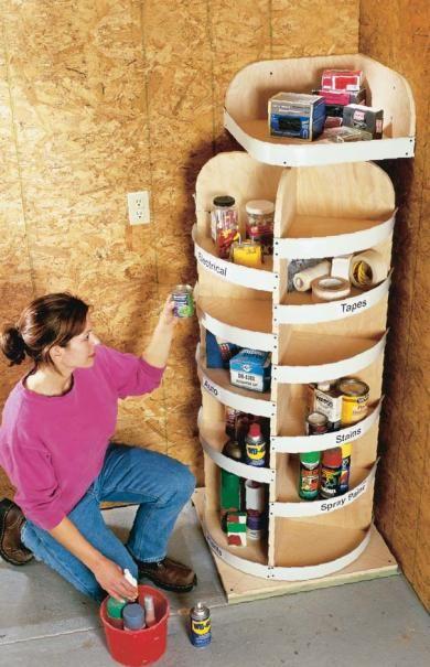 """Cabinet """"lazy Susan"""" idea for corner garage storage"""