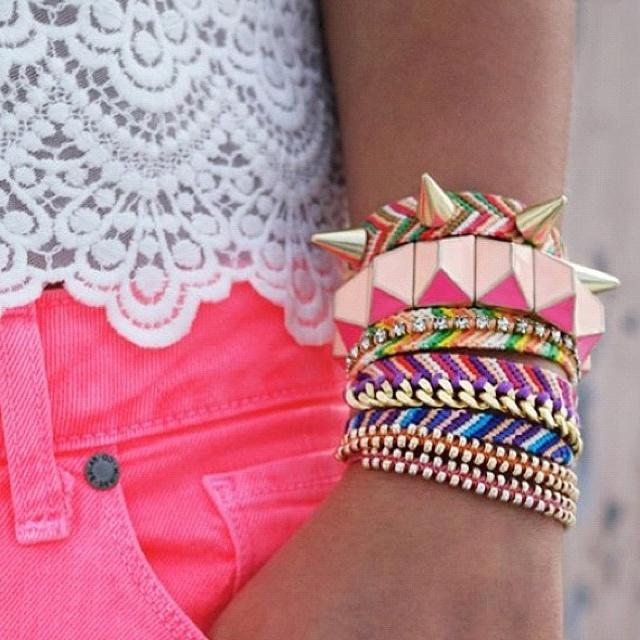 Studded braceletPink Shorts, Stacked Bracelets, Fashion, Spikes, Neon, Colors, Diy Bracelet, Arm Candies, Friendship Bracelets