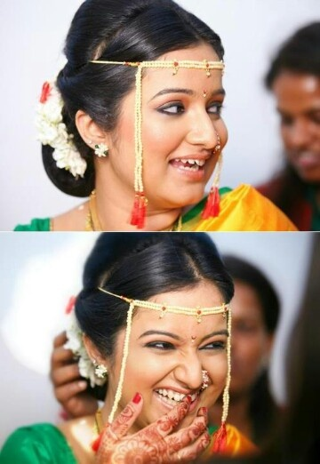 Smiling face Maharashtrian bride