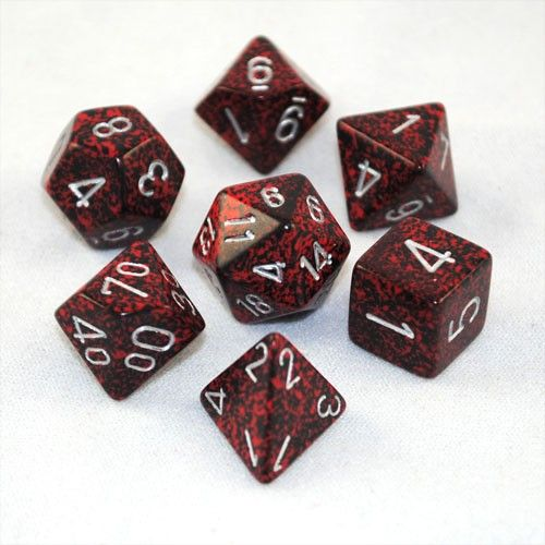 This complete set of speckled Silver Volcano dice has silver numbers on a red and black speckled dice. These are beautiful dice that really are well made and durable. Roll with style and watch your op