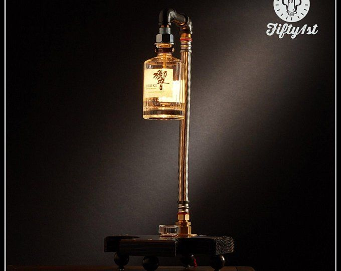 Industrial Jack Daniels Table Lamp, Jack, Up-cycled Table Lamp, Reclaimed wood lamp