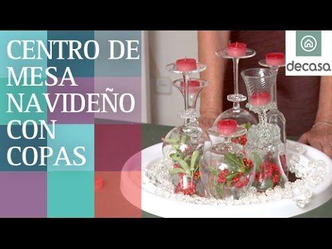 Centro de mesa con copas diy decoraci n navidad - Centro de mesa navideno manualidades ...