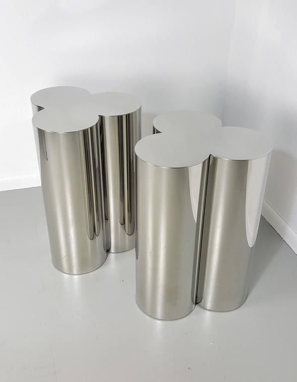 Custom Trefoil Dining Table Pedestal Bases In Mirror Polished Stainless  Steel
