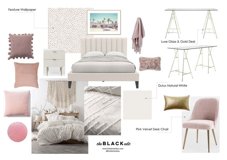 luxe coachella teen bedroom moodboard, with pink velvet chair, glass and gold desk, pink wallpaper, west elm audrey bedside table, brosa megan upholstered bed, and textured soft furnishings