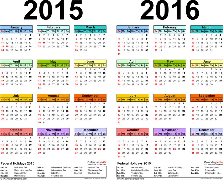 Template 1: PDF template for two year calendar 2015/2016 (landscape orientation, 1 page, in color)